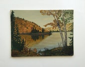 Vintage Oil Painting of an Autumn Landscape with Birch Trees Golden Fall Colors Evergreens and Lake / Original Vintage Painting / Unframed