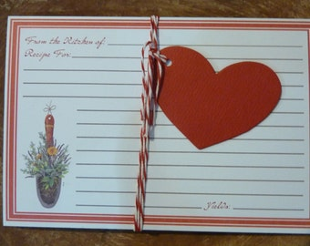 20 Recipe Cards Red Kitchen Supply Lined Floral