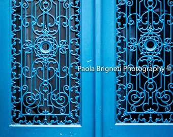 Paris Blue Door Photography, Teal, Vintage Decor, Rustic French Decor, Large Wall Art, Blue Decor, Fine Art Photography