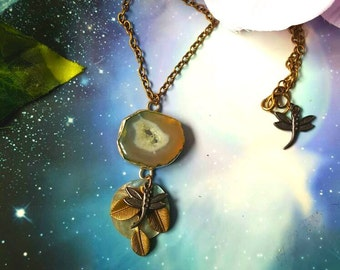 Green druzzy agate crystal fairy necklace