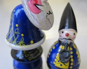 Russian Style Hand-Painted Holiday Figurine Statues Decorations/A KING & Little Guy Smoking a Pipe Wood Figures/ Artisan Folk Russian Appeal