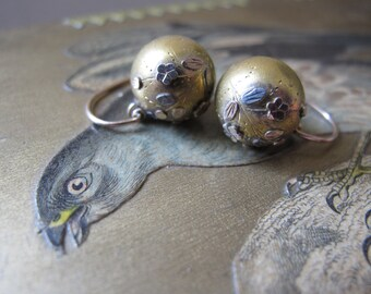 1800's Victorian Age Gold Heavy Filled Fob ORB Ball Pierced Earrings. Small Close 2 Ear Pendant Earrings. 3 Three Tri Color Gold & Silver