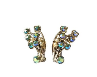 Vintage Aurora Borealis Ear Climber Earrings Coro Pegasus Style
