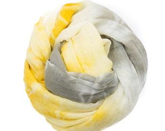 Shibori Dyed Wool Scarf - Yellow/Gray