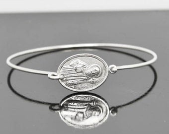 St Benedict Bangle, Sterling Silver Bangle, St Benedict Bracelet, Stackable Bangle, Charm Bangle, Catholic Bangle, Catholic Bracelet Jewelry