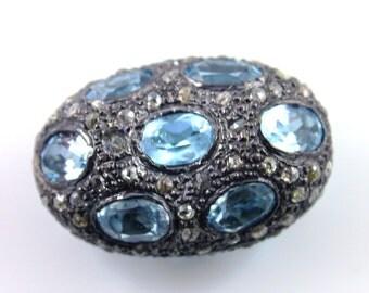 Pave Diamonds, Aquamarine Beads,  Diamond Beads, Oxidized,  Aquamarine,  Antique Finish,  Size 24x16mm,  (DF/BD/200)