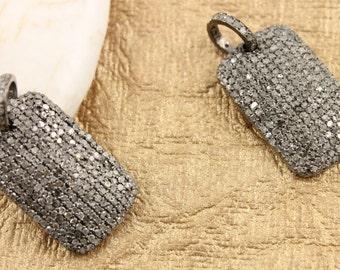 Pave Diamond Pendant, Pave Dog Tag Pendant, Diamond Dog Tag Charm, Pave Rectangle Pendant, Pave Connector, Oxidized Silver. (DCH/CR298)