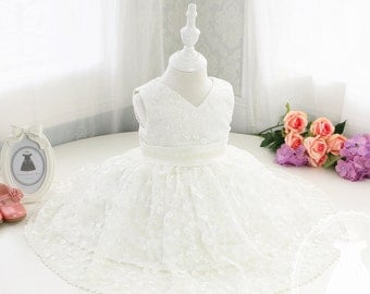 Baby First communion dress, Baptism Dress, Christening Dress, Birthday Dress 1 Year Old, Birthday Dress Baby, Infant Pageant Dress, PD047-1