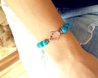 Turquoise hamsa bracelet silver, 925k silver charm bracelet, jewish hamsa hand bracelet, hand of fatima silver bracelet, turquoise gemstone