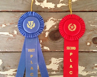 HORSE SHOW RIBBONS-Vintage Horse Show Ribbons,First Place Horse Show Ribbon, Second Place Horse Show Ribbons,Horse Ribbons,Old Fair Ribbons