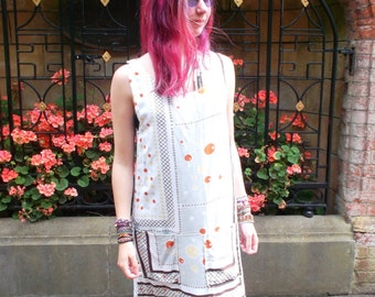 Upcycled Printed dress with pockets