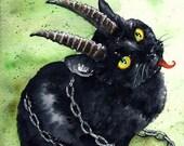 Krampus Kitten: Fine Art Watercolour Black Cat Holiday Print