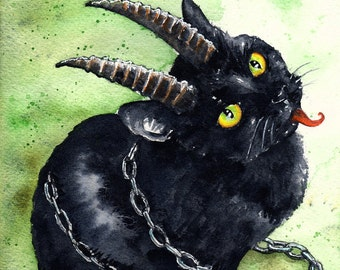 Krampus Kitten: Fine Art Watercolour Black Cat Holiday Print