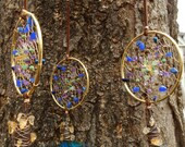 Peacock Goddess Hand-Woven Dream Catcher Mobile in Gold by The Emerald Lotus