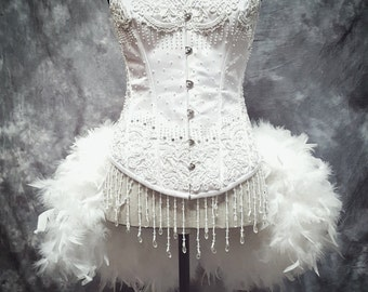 snow white swan costume beaded burlesque bridal corset wedding dress with feathers