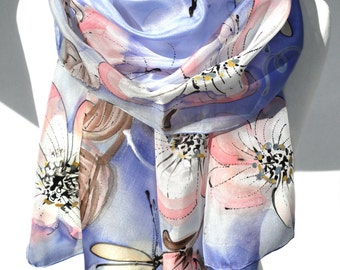 Hand Paint Silk Scarf. Blue Scarf. Anniversary Birthday Gift for Her. Silk Art. Unique Handmade Shawl. Bridesmaids Gift. 18x71in. Ready2Ship