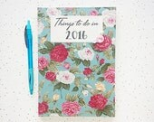 Fabric Covered 'Things to do in 2016' A5 Diary Teal Vintage Floral