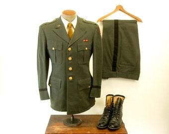 1950s U.S. Military 2 piece Dress Uniform Vintage Mens Green Wool Korean War era United States Army Jacket & Pants - Size 38 (MEDIUM)