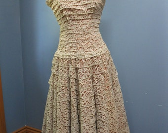 Vintage 1960's Beige Rust Lace Prom Dress Ruffled Lace Vintage Bridal