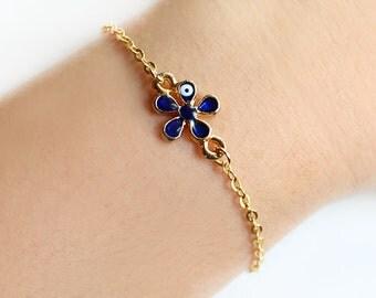 Evil eye bracelet, flower evil eye, gold chain, turkish nazar bracelet, istanbul, turkey, best friend gift