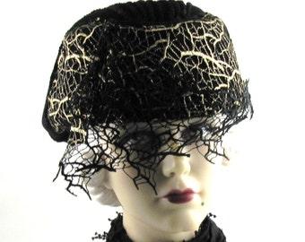 Womens Hat Gold Cobweb Black Velour Fur Felt Masquerade Mask Cloche Handmade Hat Veil Ascot Derby Bride Art Deco Custom Made for Each Client