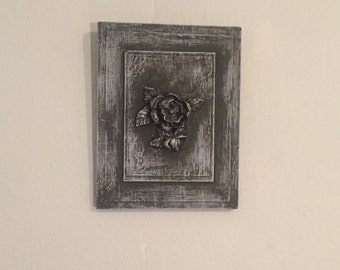 Antiqued Magnolia Wall plaque Wall Hanging Decor Shabby Cottage Chic