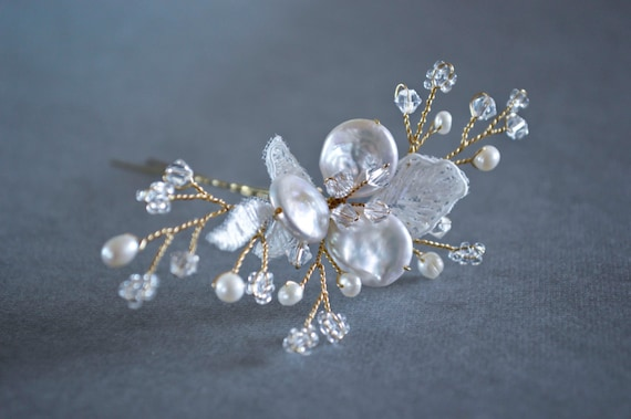 Bridal Hair Pin, Blossom Pearls & Crystals, Hair flowers, Bridal Hair Accessories, Vintage Style, Art Nouveau, Art Deco Hair