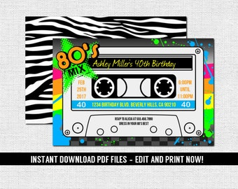 80's Party Invitation - Cassette Tape Style Birthday Graduation 1980's Prom Dance (Instant Download) Editable Printable PDF Files Zebra 80s