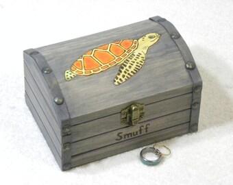 Sea Turtle Wood Treasure Chest Keepsake Box Jewelry Box Pirate Chest Orange Turtle Wood burned Personalized Name Text, Turtle Crossing Arts