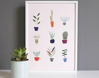 Giclee Print, Pot Plants, Succlents, Art, Cactus, Retro Wall Art