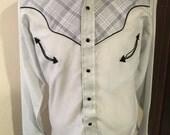 Men's vintage western shirt, plaid - Small
