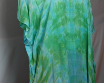 Spring Greens Hand Dyed OOAK Tie Dyed Tunic Top Beach Cover Up