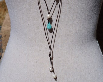 Leather, Pearl, and Turquoise Long Lariat Necklace