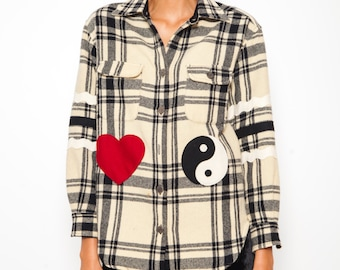 S.U.P.E.R SALE was 230 now 100 coolest vintage 80s/90s MOSCHINO wool plaid heart yin yang patch patchwork shirt jacket