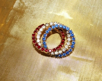 Magnificent Phenomenal Vintage Intertwined Patriotic Blue Red White CRYSTAL RHINESTONE Brooch BU