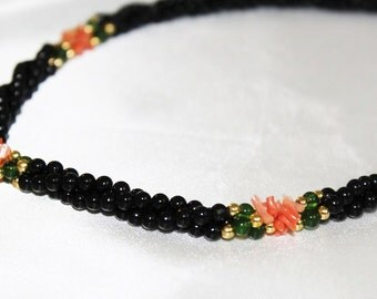 SALE! Luxurious Vintage Designer Runway Couture Twisted Rope Onyx Coral Bead Necklace NS