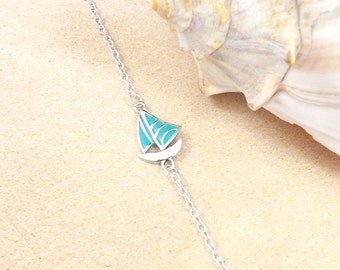 Sailboat Bracelet, Silver, Blue Patina, Sailboat Jewelry, Sailing, Sailboat Bangle, Nautical, Ocean, Sail Boat Bracelet, Turquoise Bracelet