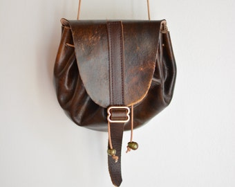 Patina Dream drawstring leather hand painted pouch