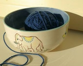Pottery Yarn Bowl For Knitting Wool Bowl Handmade UK Elephant - Hand Painted in my New Designs