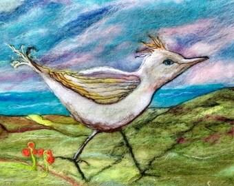 Sea Bird Textile Art To Frame Wet Felted Bird Painting Handmade Original Textile Art made in UK - Sea Bird in Cornwall