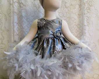 3 - 6 mo. Slate Gray Rosette Iridescent Sequin Feather Dress & Matching Headband, Baby Pageant Dress Set, Baby Shower Gift, Ready to Ship!