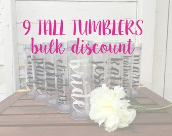9 Tall Tumblers BULK DISCOUNT: Personalized Bridal Party Tumblers, Bachelorette Bottles, Bride Tribe, Team Bride, Personalized Water Bottle
