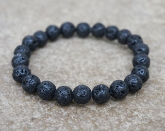 Lava Rock Bracelet, Black Men's Bracelet, Black Beaded Bracelet for Men, Unisex Bracelet, Boho Bracelet, Stretch Bracelet, Gift for Him