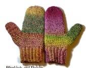 Multicoloured Crochet Mittens