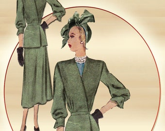 1940s Dress Pattern McCall 7187 Classy Two Piece Dress with Peplum Asymmetrical Long Jacket and Flared Skirt Bust 38