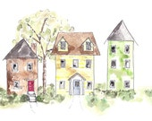 Fantasy art, Architectural art, watercolor painting,  bright urban buildings, office wall art home decor, fun neighborhood painting