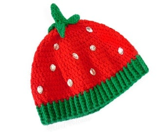 Strawberry Beanie. Crochet Fruit Hat. Kawaii Winter Hat. Cute Girls Beret. Kitsch Womens Hat. Brightly Colored Knit Beanie. Red & Green Hat