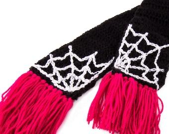 Cobweb Scarf - Custom Colour Crochet Scarf - Pink and Black Scarf with Tassels - Womens Wrap Around Scarf - Spider Web Scarf - Gothic Scarf
