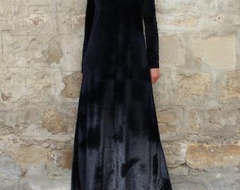 Black Velvet Dress / Long Sleeve Maxi Dress / Party Dress / Plus Size Evening Dress / Long Dress