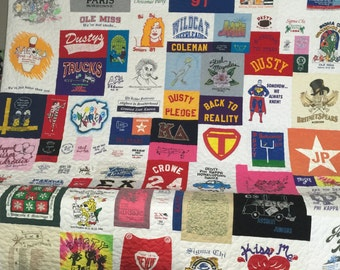 Tee shirt Quilt Asymmetrical Custom, Memory Quilt, Custom Order Quilt, You Pick Size - Using Your Shirts - DEPOSIT ONLY